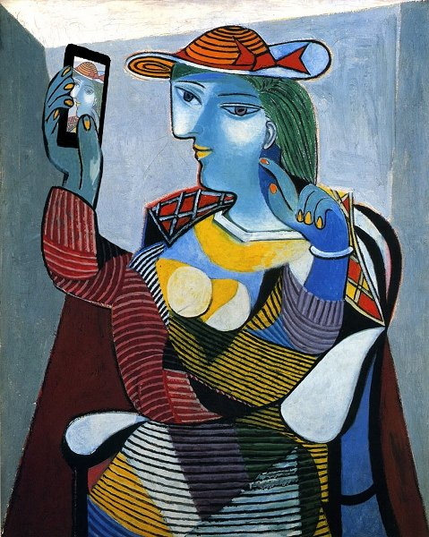 Pablo Picaso painting of woman with cell phone
