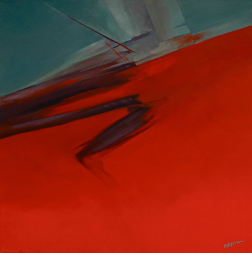A painting with a plane of red and a darker shadow