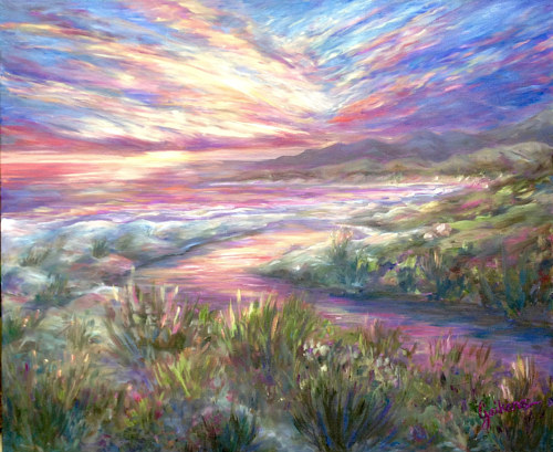 A landscape painting with saturated purple and pink tones
