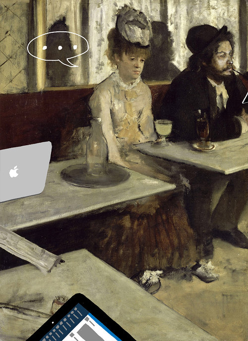 Painting of woman and man sitting in cafe