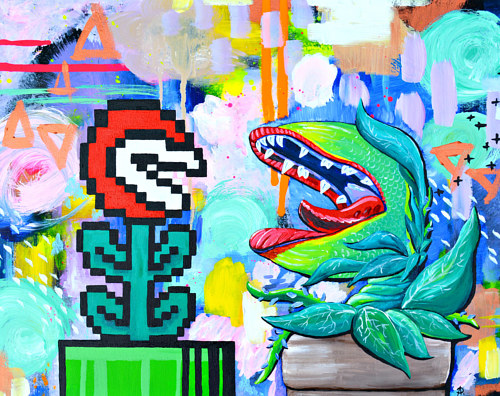 A mash-up of super mario and little shop of horrors