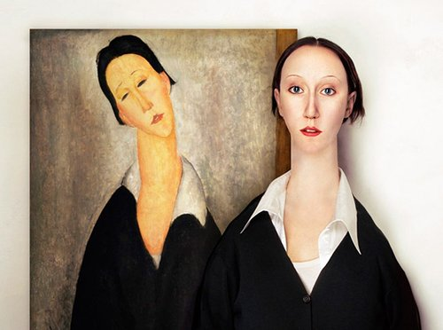 Woman with long neck next to painting of woman with long neck