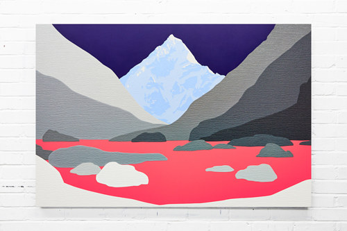 A painted and collaged image of mountains and a lake