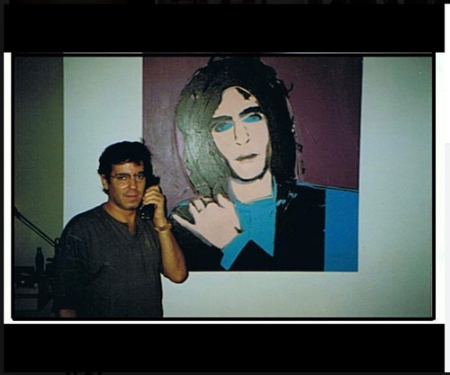 A Facebook photo of Todd Brassner with a portrait of him by Andy Warhol