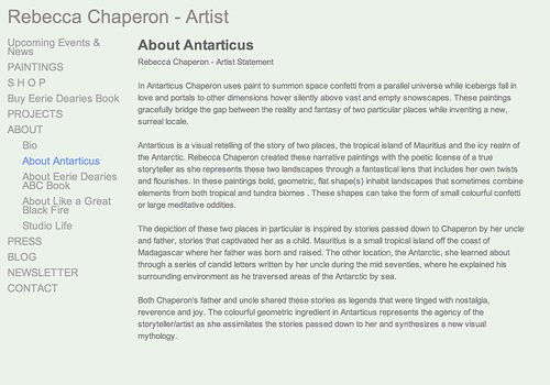 Website screenshot Rebecca Chaperon