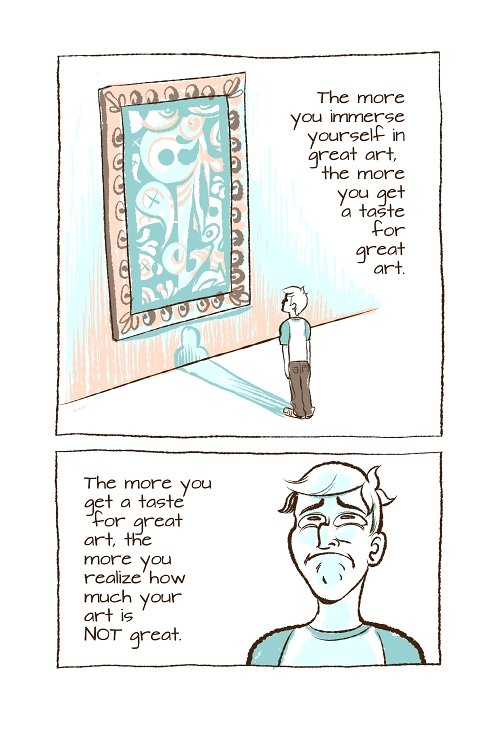 Cartoon of man in museum looking at painting