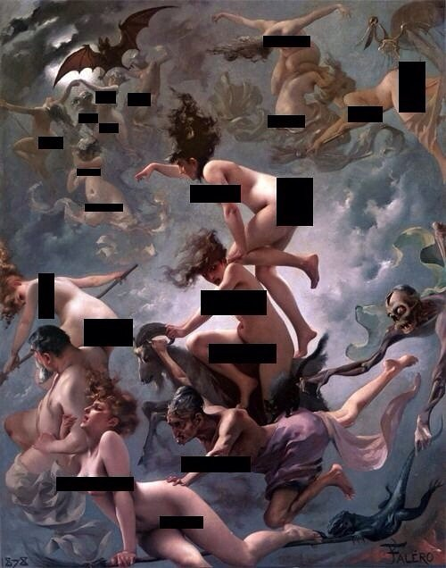 artwork of nude angels with their private parts censored out with black stripes