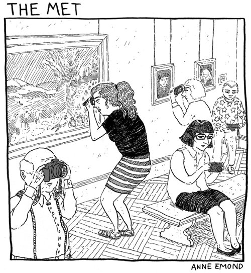 drawing of an art gallery where patrons are holding their cameras to their face