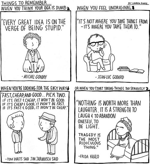 cartoon strip with quotes from famous artists
