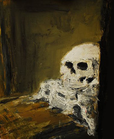 Painting of skull on table