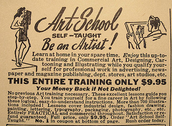Image of old newspaper ad for art school classes