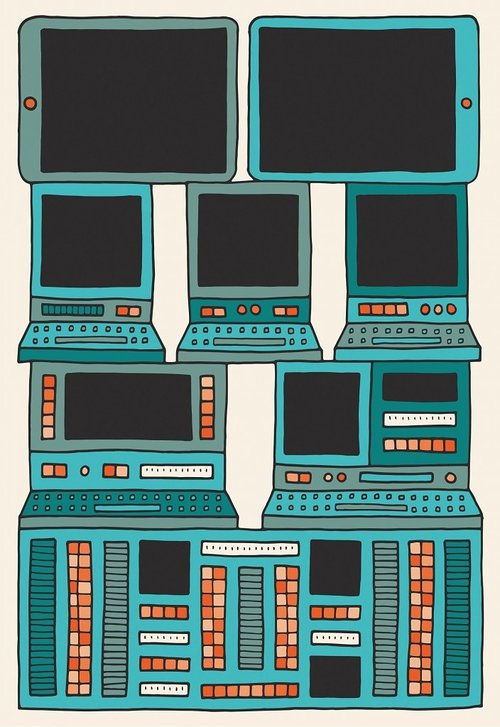 Cartoon of various computers stacked on top of each other