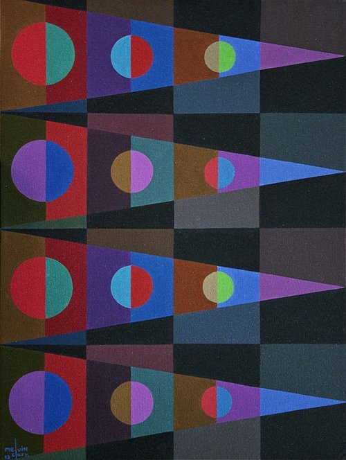 geometric painting with four triangles the vary in colors