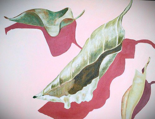 Acrylic painting of leaves