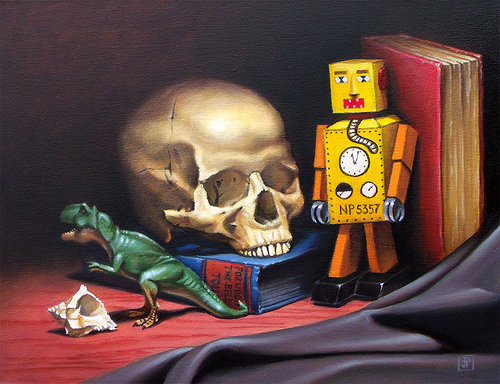 Oil painitng of skull next to toy robot, dinosaur and books