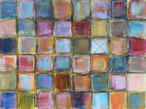 painting of grid of color on wood