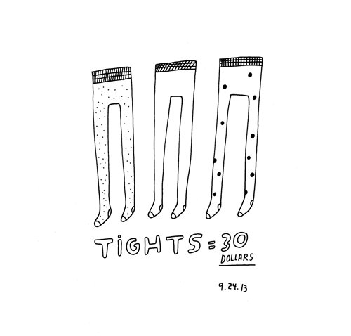 Drawing of three paris of tights for thirty dollars