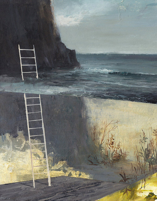 Painting of ladder underwater leaning on cliff