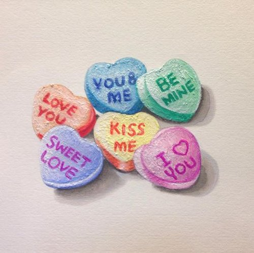 drawing of sweets that say i love you,, kiss me, be mine