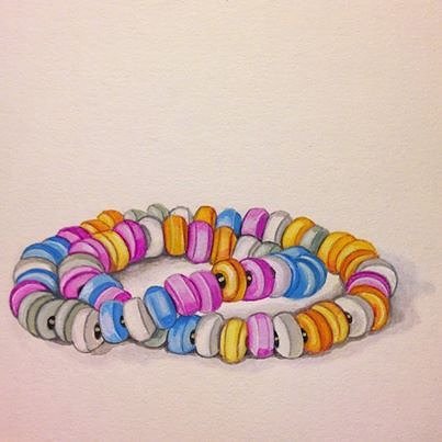 drawing of a candy-cane necklace