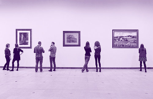 people in an art gallery
