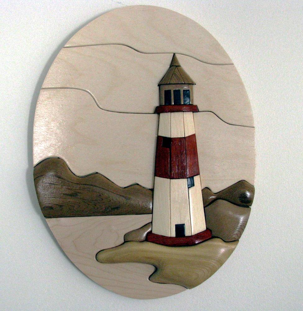 Lighthouse in Oval by Vicki Allesia