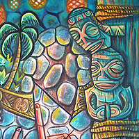 "Acrylic painting ""Bar with Marquesan Artifacts"" by Kenneth M Ruzic"