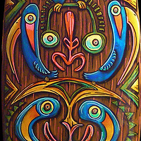 """Sepik River Totem""  middle detail by Kenneth M Ruzic"