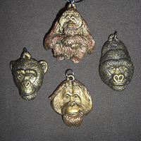 Orangutan, Mountain Gorilla and Chimpanzee pendant set (bronze finish) by Jason  Shanaman