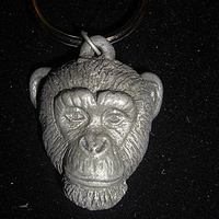 Chimpanzee key chain (large in cold cast pewter) by Jason  Shanaman