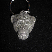 Chimpanzee key chain (small in cold cast pewter) by Jason  Shanaman