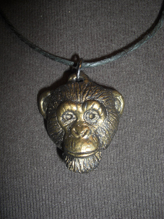 Painting Chimpanzee pendant (small in bronze finish) by Jason  Shanaman