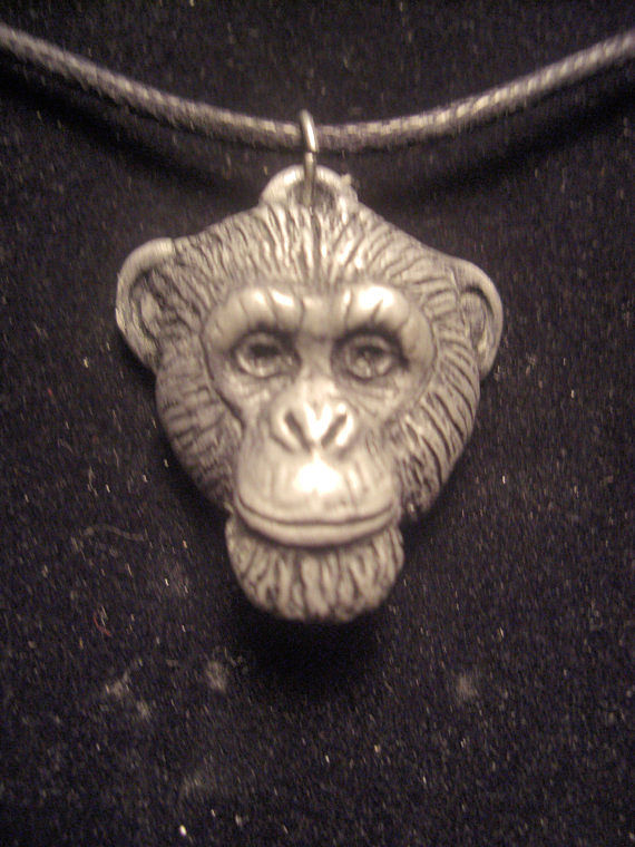 Chimpanzee pendant (small in cold cast pewter by Jason  Shanaman