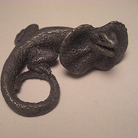 Frilled Dragon magnet (cold cast pewter) by Jason  Shanaman