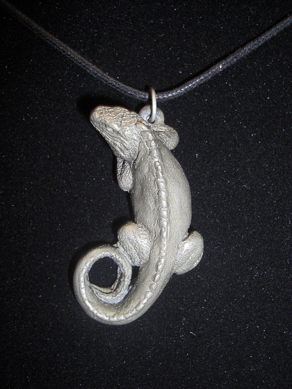 Rock Iguana pendant (cold cast pewter) by Jason  Shanaman