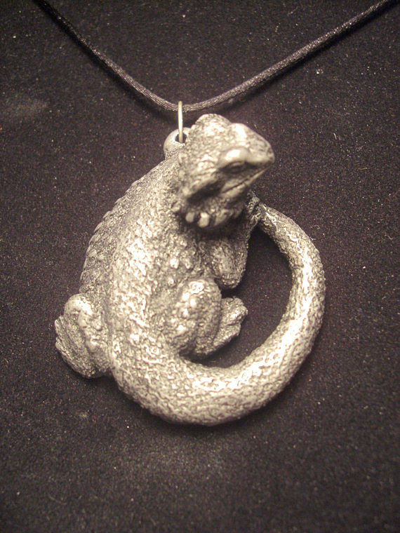Bearded Dragon pendant (cold cast pewter) top clasp design by Jason  Shanaman