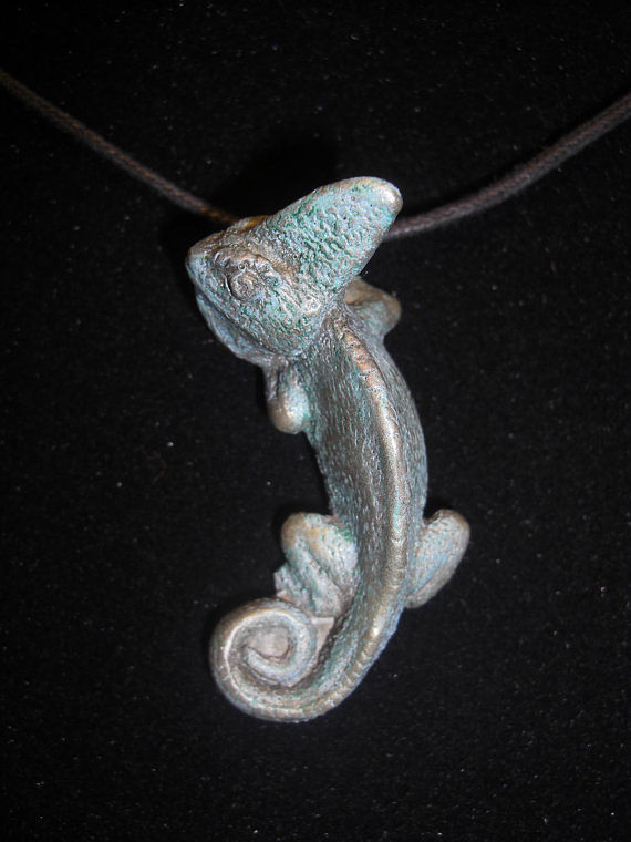Veiled Chameleon pendant (cold cast pewter with patina) by Jason  Shanaman