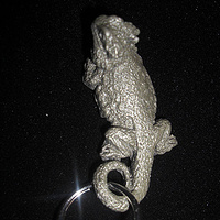 Bearded Dragon key chain (large in cold cast pewter) by Jason  Shanaman