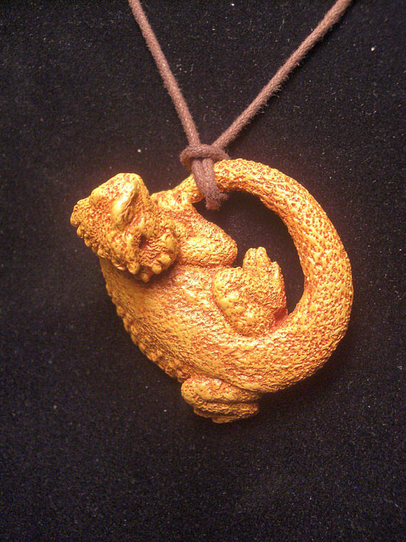 Painting Bearded Dragon pendant (terra cotta finish) knotted style by Jason  Shanaman
