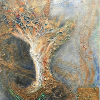 Mixed-media artwork Zephyr by Karen Holland