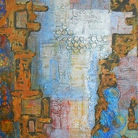 Mixed-media artwork Steps Beneath by Karen Holland