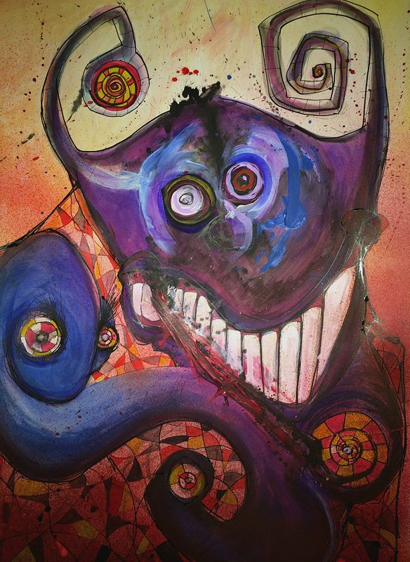 Mixed-media artwork Sneaky Demon by Joey Feldman