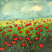 Acrylic painting Poppy Field by Sally Adams
