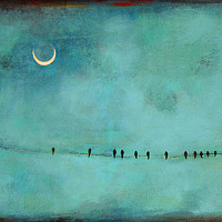 Acrylic painting Atlanta Moon by Sally Adams