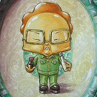 Acrylic painting Let Them Eat Mandu - Kim Jong Il by Cindy Scaife