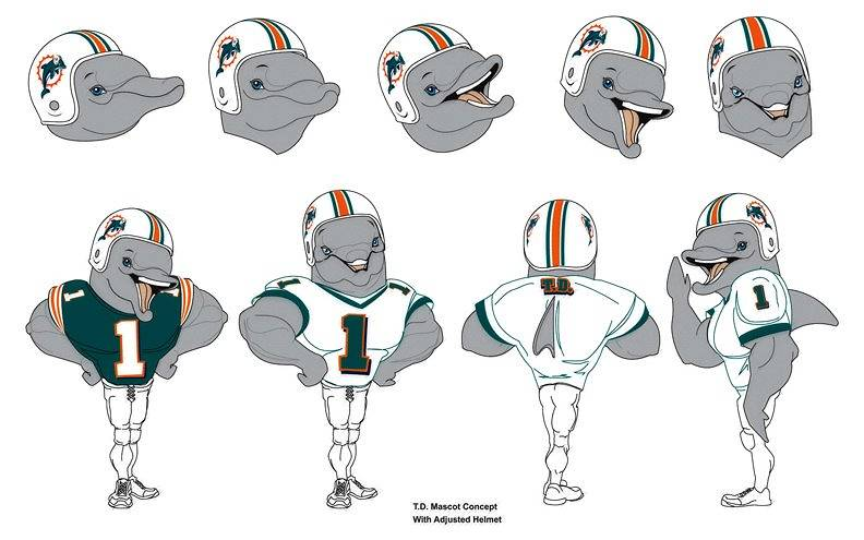 Miami Dolphins Mascot concept art by Steve Ferris