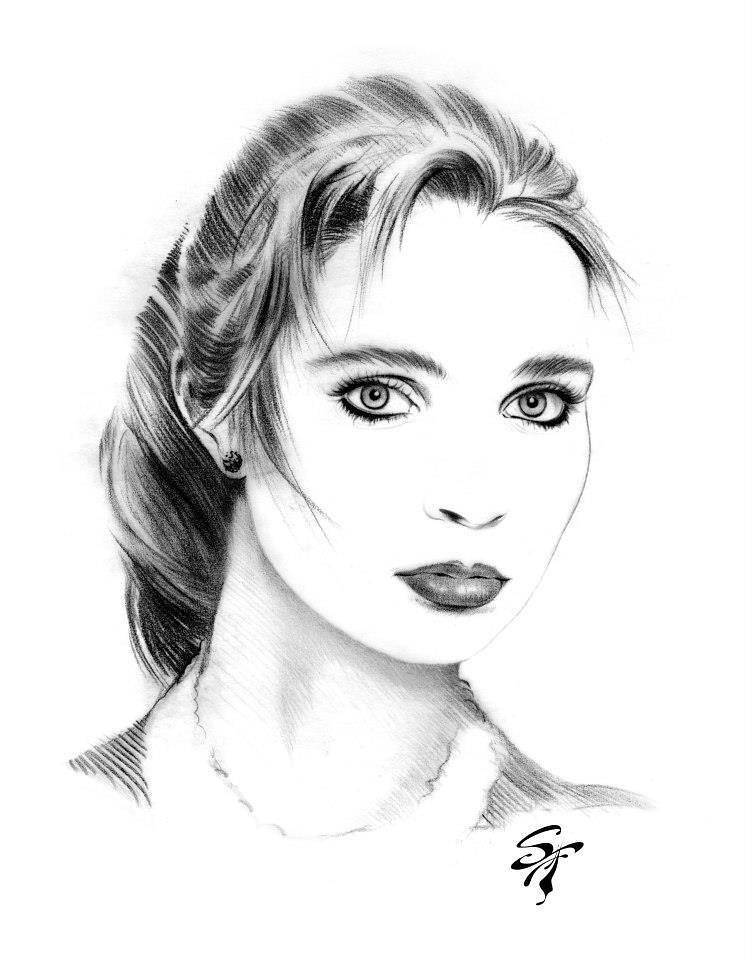 Girl soft pencil by Steve Ferris