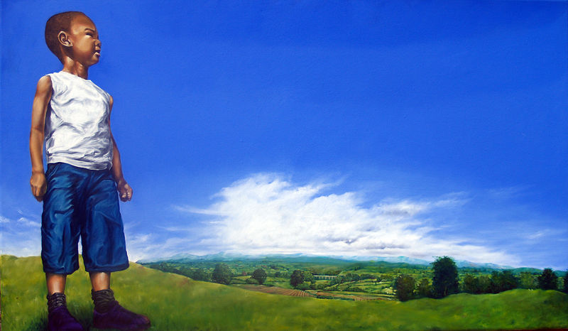 Oil painting Untitled hilltop portrait by Richard Mountford