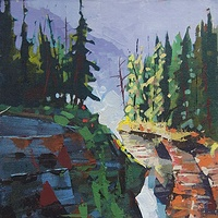 Morning Shadows Athabasca Falls   Acrylic 12x16 2014 by Brian  Buckrell