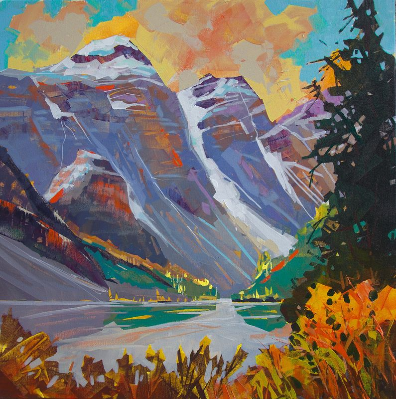 Moraine Lake Colours   Acrylic 24 x24 2014 by Brian  Buckrell